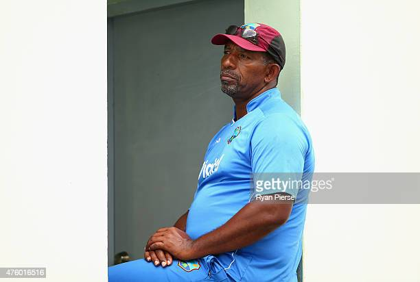 West Indies coach Phil Simmons looks on during day three of the First Test match between Australia and the West Indies at Windsor Park on June 5 2015...