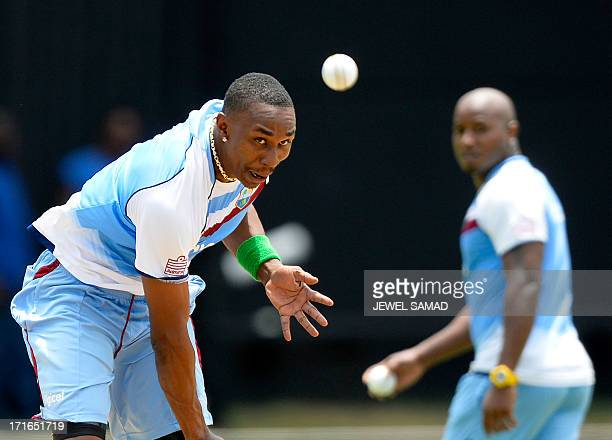 West Indies cricket team captain Dwayne Bravo delivers a ball during a practice session at the Sabina Park stadium in Kingston on June 27 2013 West...