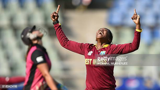 West Indies cricketer Afy Fletcher reacts after taking the wicket of New Zealand captain Suzie Bates during the World T20 women's semifinal match...