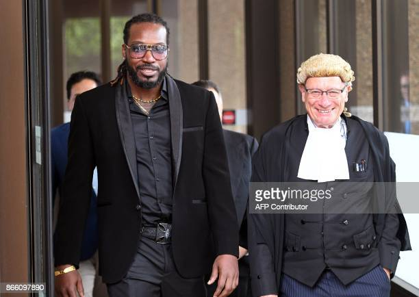 West Indies cricketer Chris Gayle leaves the New South Wales Supreme Court in Sydney on October 25 2017 Massage therapist Leanne Russell said she...