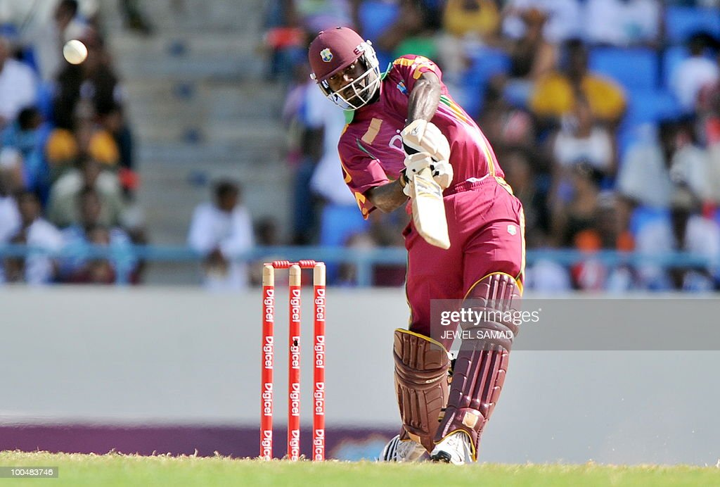 West Indies cricketer Dale Richards hits