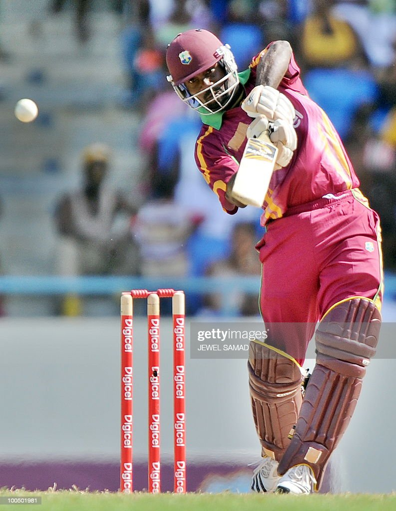 West Indies cricketer Dale Richards hits a boundary during the second One Day International match between West Indies and South Africa at the Sir Vivian Richards Stadium in St John's on May 24, 2010. Batting first, South Africa scored 300-runs at the end of their innings. AFP PHOTO/Jewel Samad
