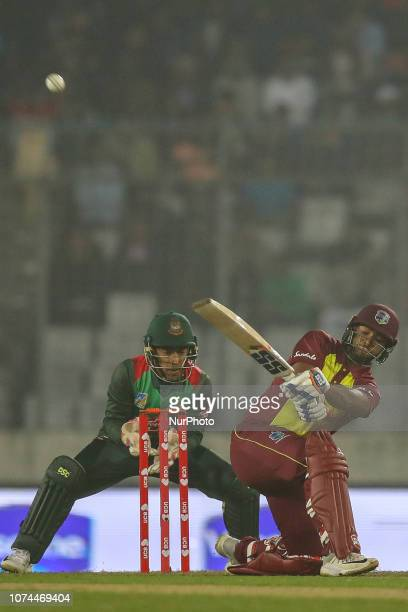 West Indies cricketer Evin Lewis plays a shot during the second T20 match between Bangladesh against West Indies in Mirpur Dhaka Bangladesh on...