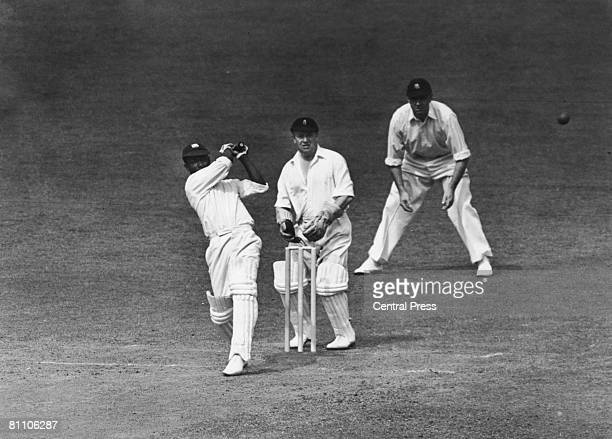 West Indies cricketer George Headley batting against England in the Test Match at The Oval London 1939 At the wicket is Arthur Wood and at the slip...