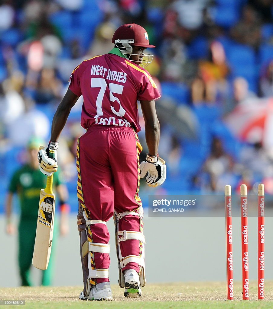 West Indies cricketer Jerome Taylor looks back after being clean bowled off South African bowler Morne Morkel during the second One Day International match between West Indies and South Africa at the Sir Vivian Richards Stadium in St John's on May 24, 2010. Batting first, South Africa scored 300-runs at the end of their innings. AFP PHOTO/Jewel Samad