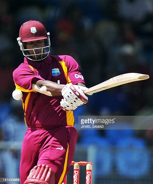 West Indies cricketer Johnson Charles plays a shot during the firstoffive One Day International matches between Australia and West Indies at the...