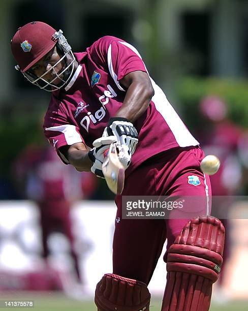West Indies cricketer Kieran Powell hits a ball during a practice session at the Arnos Vale Ground in Kingstown on March 15, 2012. West Indies will...