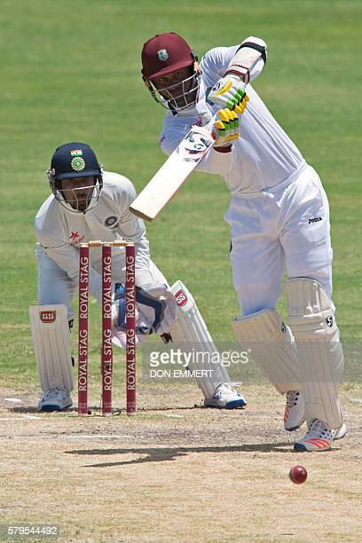 West Indies' cricketer Marlon Samuels bats during day four of the cricket test match between West Indies and India July 24 2016 at Sir Vivian...