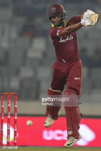 West Indies cricketer Roston Chase plays a shot during the second ODI match between Bangladesh against West Indies in Mirpur Dhaka Bangladesh on...