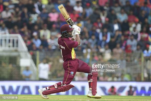 West Indies cricketer Shai Hope plays a shot during the first Twenty20 cricket match between Bangladesh and West Indies at the Sylhet International...