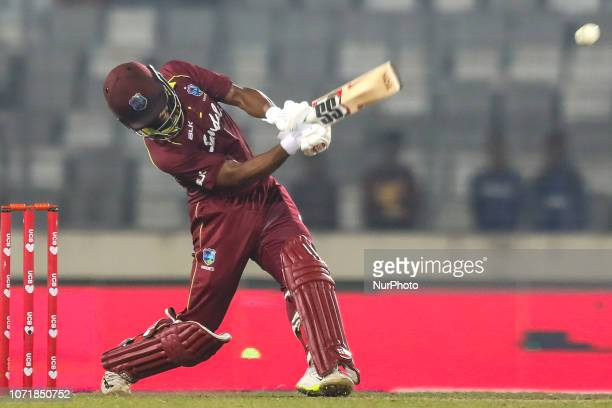 West Indies cricketer Shai Hope plays a shot during the second ODI match between Bangladesh against West Indies in Mirpur Dhaka Bangladesh on...
