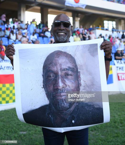 West Indies cricketer Sir Vivian Richards with a print by artist Brandan Kelly during Day Three of the 2nd Test match between West Indies and England...