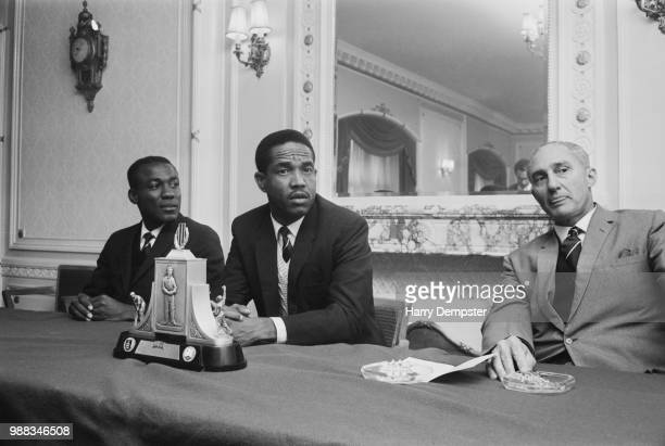 West Indies cricketers, from left, vice captain Conrad Hunte , captain Garfield Sobers and West Indies team manager Jeff Stollmeyer pictured together...