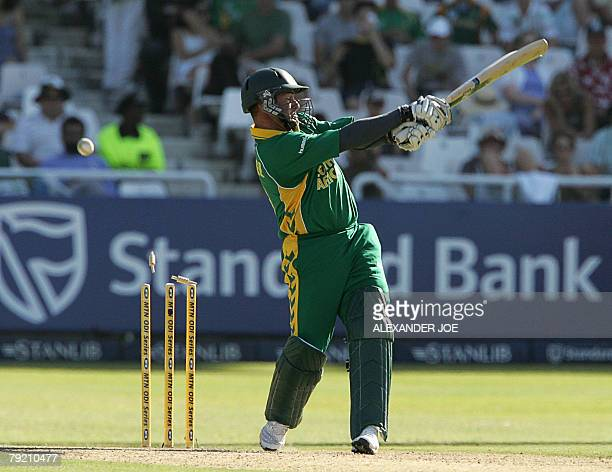 West Indies Denesh Ramdin celebrates the dissmissal of South Africa batsman Mark Boucher been clean bowled for 17 runs by West Indies Jerome Taylor...