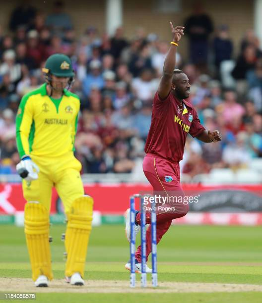 West Indies fast bowler Andre Russell celebrates taking the wicket of Alex Carey during the Group Stage match of the ICC Cricket World Cup 2019...