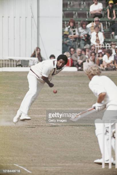 West Indies Fast Bowler Andy Roberts bowls to England batsman Graham Barlow during the 1st ODI at Scarborough on August 26 1976 in England
