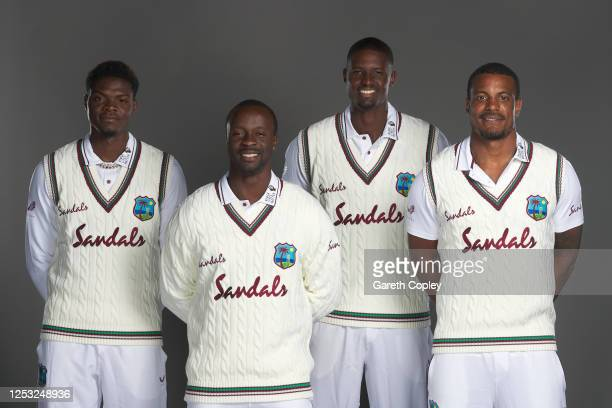 West Indies fast bowlers Alzarri Joseph, Kemar Roach, Jason Holder and Shannon Gabriel pose for a portrait at Emirates Old Trafford on June 28, 2020...