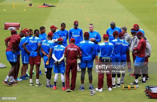 West Indies head coach Stuart Law holds a team talk during the nets session at Edgbaston Birmingham