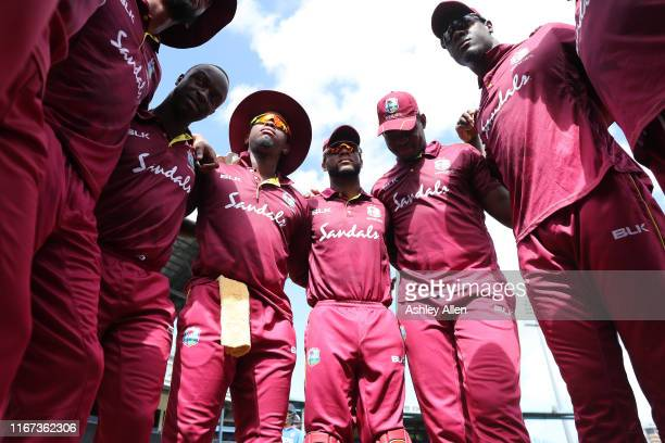 West Indies Huddle during the second MyTeam11 ODI between the West Indies and India at the Queen's Park Oval on August 11, 2019 in Port of Spain,...