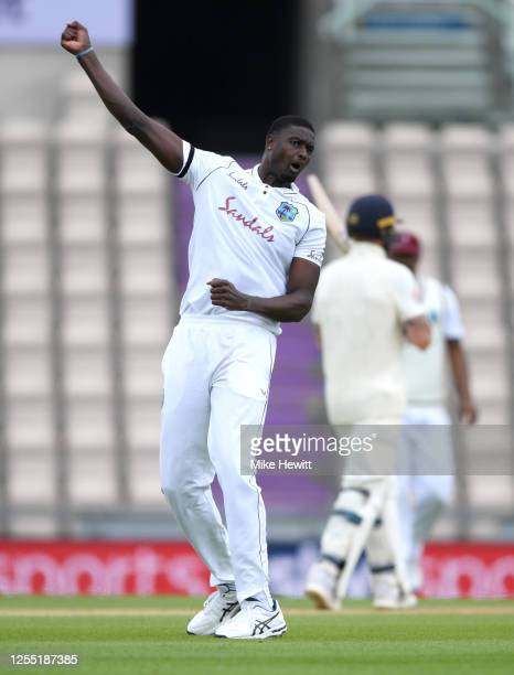 West Indies Jason Holder celebrates dismissing Ollie Pope of England during day two of the 1st #RaiseTheBat Test match at The Ageas Bowl on July 09,...