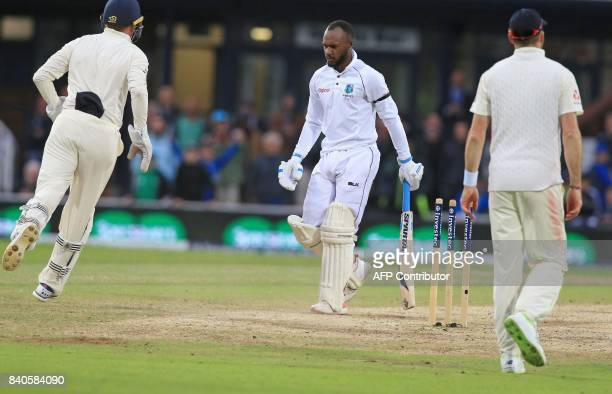 West Indies' Jermaine Blackwood watches as England's Jonny Bairstow takes his wicket for 41 runs on the fifth day of the second international Test...