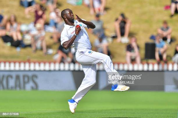TOPSHOT West Indies' Kemar Roach bowls during day two of the first Test cricket match between New Zealand and the West Indies at the Basin Reserve in...