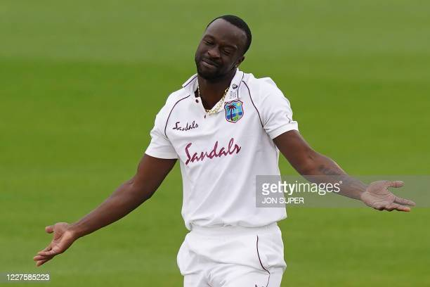 West Indies' Kemar Roach reacts after an unsuccessful appeal on the first day of the second Test cricket match between England and the West Indies at...