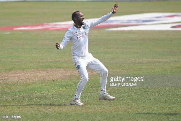 West Indies' Kraigg Brathwaite celebrates after the dismissal of Bangladesh's Tamim Iqbal during the fourth day of the second Test cricket match...