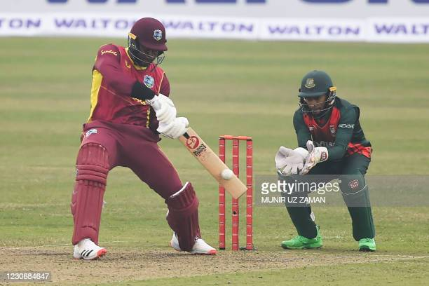 West Indies' Kyle Mayers plays a shot during the first one-day international cricket match between Bangladesh and West Indies at the Sher-e-Bangla...