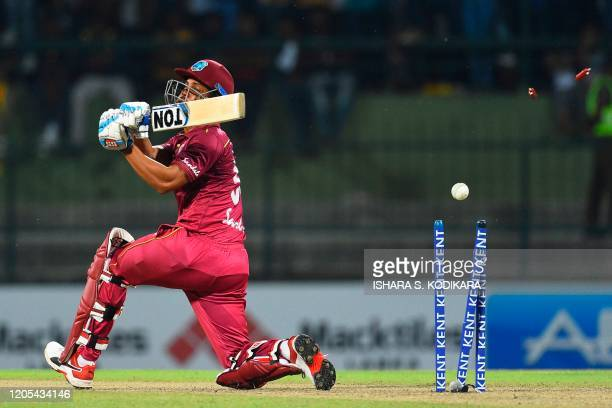 West Indies' Lendl Simmons is bowled by Sri Lanka's Angelo Mathews during the second Twenty20 international cricket match of a twomatch series...
