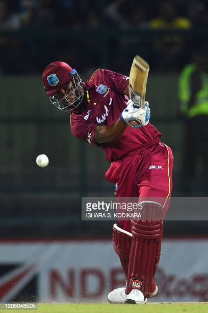 West Indies' Lendl Simmons plays a shot during the first Twenty20 international cricket match of a twomatch series between Sri Lanka and West Indies...