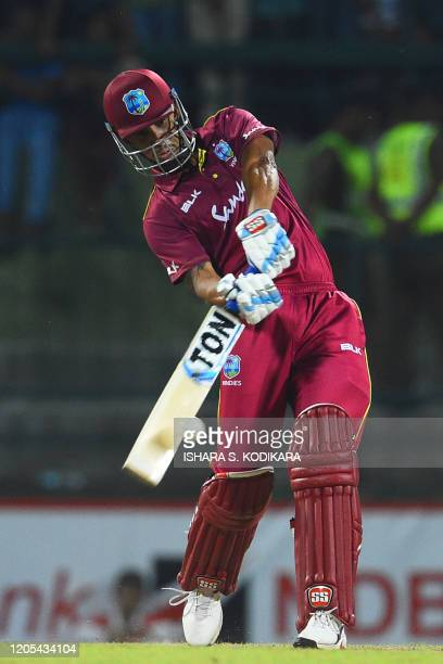 West Indies' Lendl Simmons plays a shot during the second Twenty20 international cricket match of a twomatch series between Sri Lanka and West Indies...