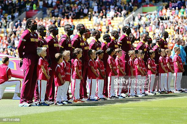 West Indies line up for the national anthem during the 2015 ICC Cricket World Cup match between New Zealand and the West Indies at Wellington...