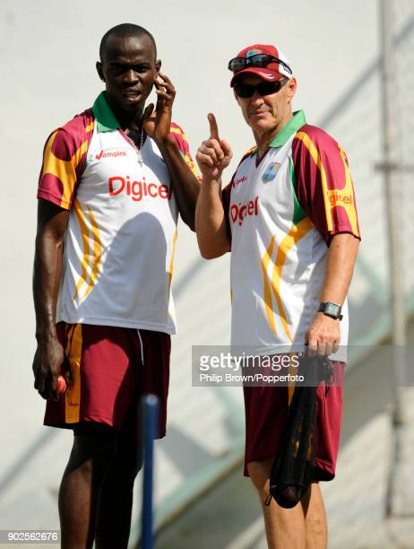 West Indies' Lionel Baker with team coach John Dyson during training before the 1st Test match between West Indies and England at Sabina Park...
