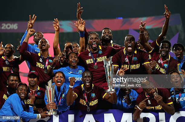 West Indies Men and Womens teams celebrate winning the ICC World Twenty20 and Womnes ICC World Twenty20Finals during the ICC World Twenty20 India...