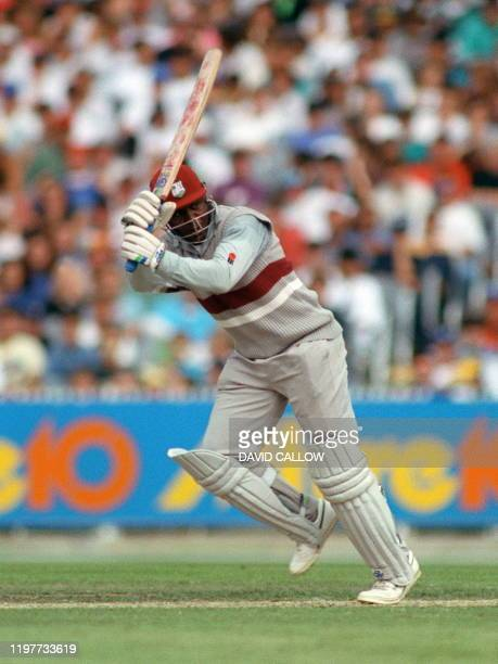 West Indies' opening batsman Desmond Haynes turns the ball through square leg to reach his 50 during the World Series one-day match against Australia...