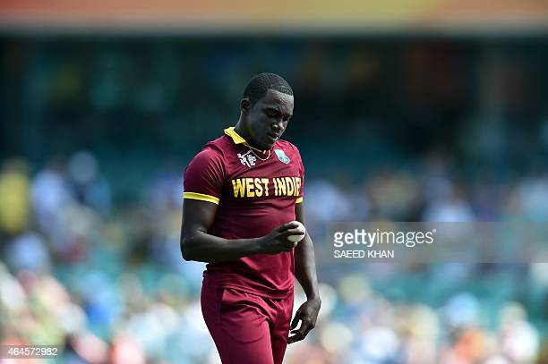 West Indies paceman Jerome Taylor approaches his bowling mark against South Africa during the Pool B 2015 Cricket World Cup match between South...