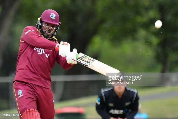 TOPSHOT West Indies player Chris Gayle bats during the third oneday international cricket match between New Zealand and the West Indies at Hagley...