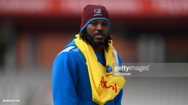 West Indies player Chris Gayle looks on during their net session ahead of the Royal London Trophy against England at Old Trafford on September 18...