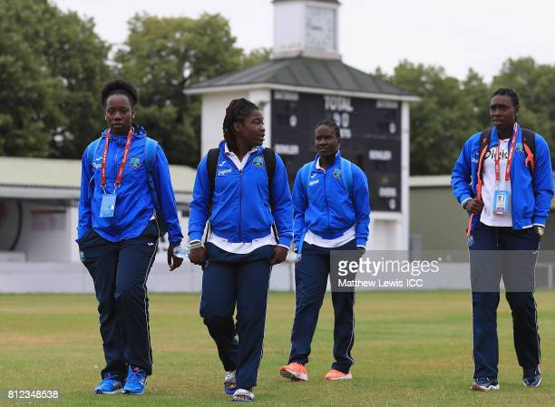West Indies players arrive ahead of the ICC Women's World Cup 2017 match between West Indies and Pakistan at Grace Road on July 11 2017 in Leicester...
