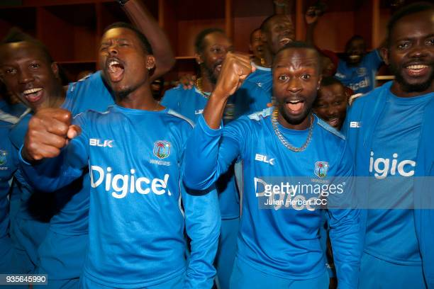 West Indies players celebrate after The ICC Cricket World Cup Qualifier between The West Indies and Scotland at The Harare Sports Club on March 21...