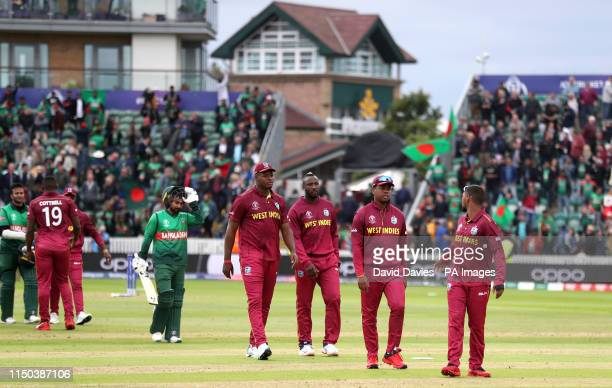 West Indies players walk off dejected after the ICC Cricket World Cup group stage match at The Taunton County Ground Taunton