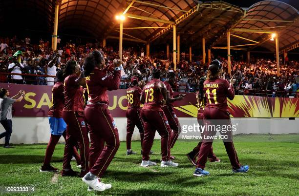 West Indies playes thank the fans during the ICC Women's World T20 2018 match between West Indies and England at Darren Sammy Cricket Ground on...