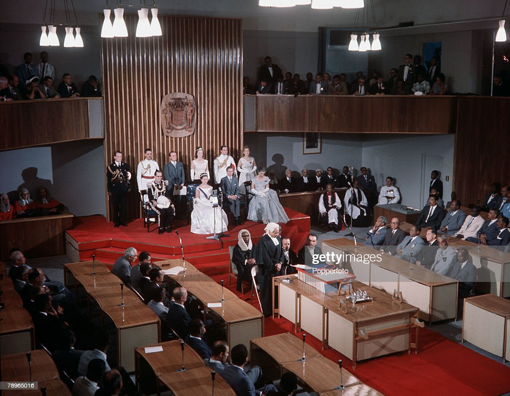 West Indies. 1962. Princess Margaret is pictured at the State Opening of the Jamaican Parliament. : News Photo