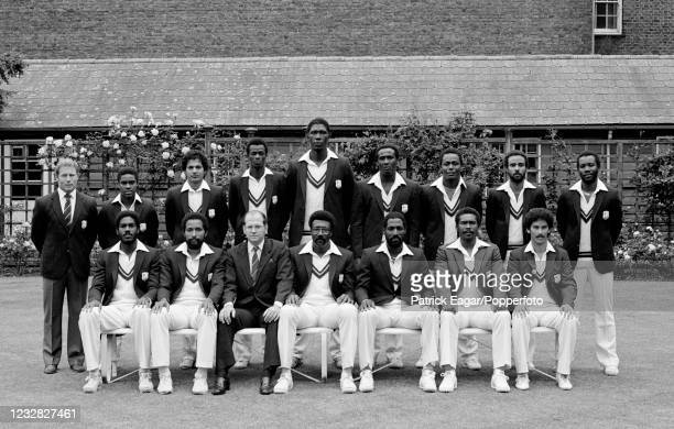 West Indies Prudential World Cup cricket team at Lord's Cricket Ground, London, 17th June 1983. Pictured are : Dennis Waight , Gus Logie, Faoud...