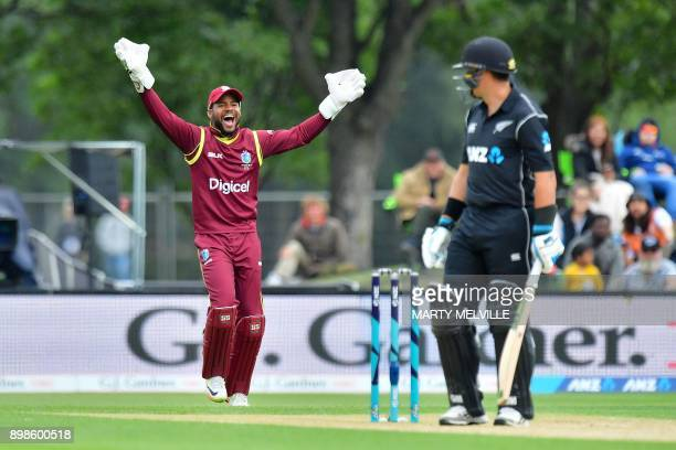 West Indies' Shai Hope appeals for a LBW call on New Zealand's Ross Taylor R during the third one day international cricket match between New Zealand...