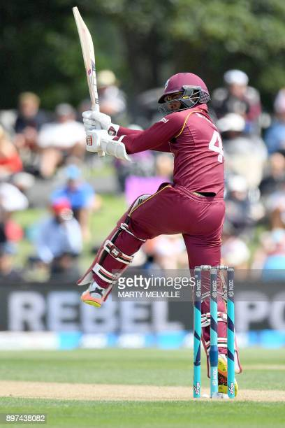 West Indies' Shai Hope bats during the second oneday international cricket match between New Zealand and the West Indies at Hagley Oval in...