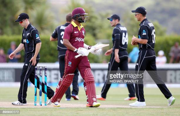 West Indies Shai Hope is dismissed during the first ODI cricket match between New Zealand and the West Indies at Cobham Oval in Whangarei on December...