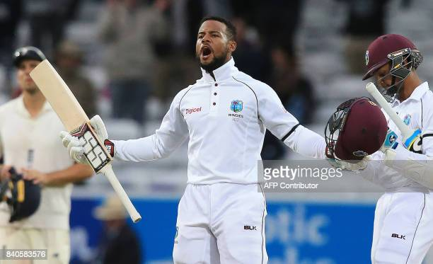 West Indies' Shai Hope reacts after winning the second international Test match between England and the West Indies on the fifth day at Headingley...