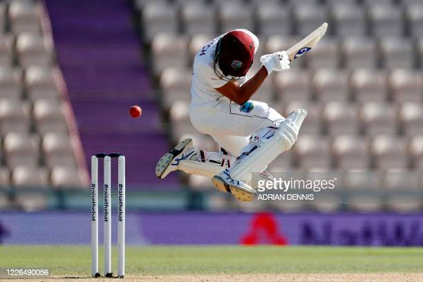 TOPSHOT West Indies' Shane Dowrich evades a short ball on the fifth day of the first Test cricket match between England and the West Indies at the...